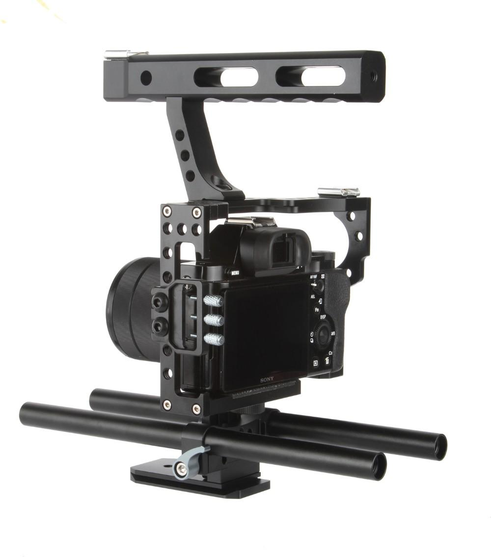 15mm Rod Rig DSLR Camera Video Cage Kit Stabilizer + Top Handle Grip for Sony A7 II A7RII A7SII A6300 A6000/GH4/EOS M5