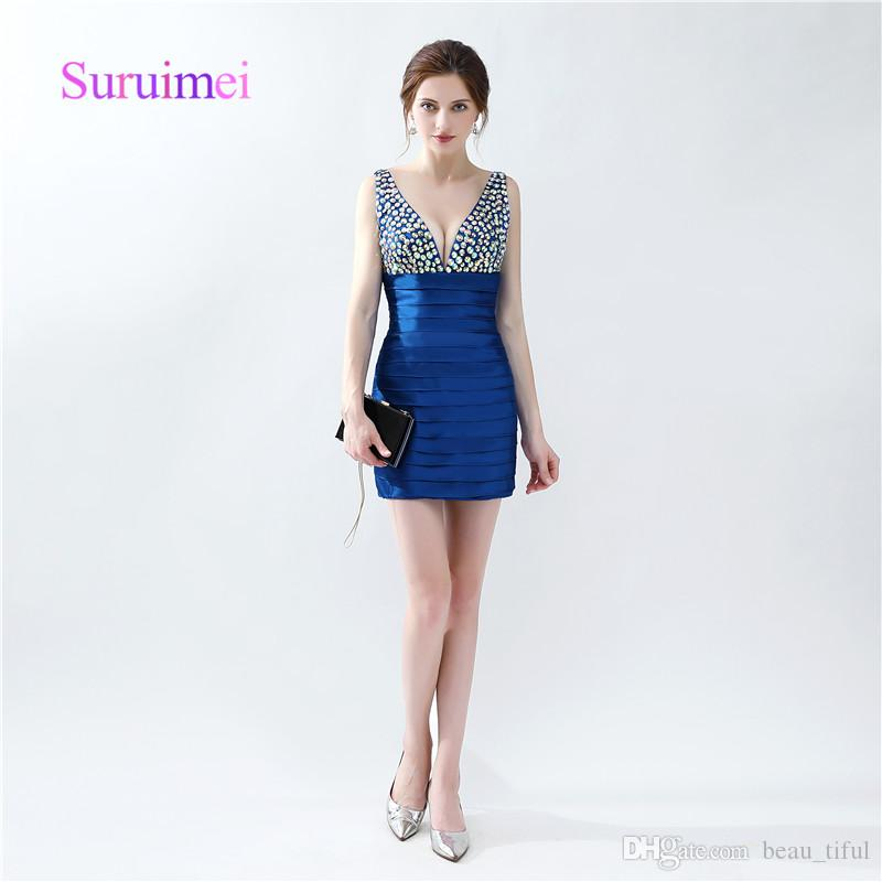 Fast Shipping Prom Dresses With Crystal Sheath Mini Above Knee V ...
