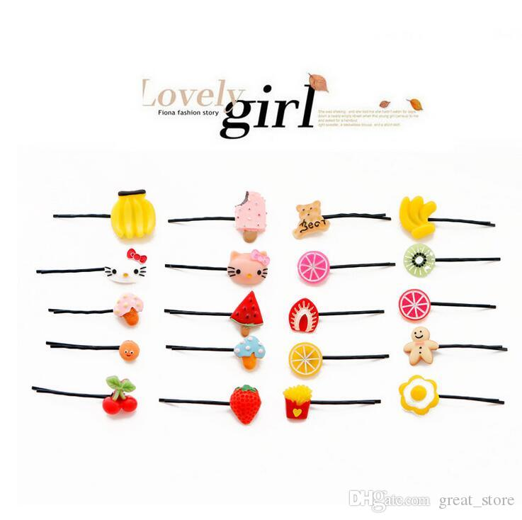 Cute hair ornaments word clip Harajuku card children cherry hairpin fruit lemon Meng head decoration FJ067 mix order 60 pieces a lot