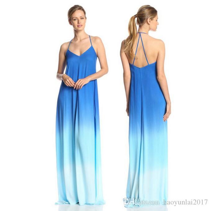 ee28e88fedb5 Women Beach Dress 2017 Maxi Long Dress Boho Casual Summer Wedding Evenings  Party Sleeveless Gradient Patchwork 3 Colour Short To Long Dresses Dresses  For ...