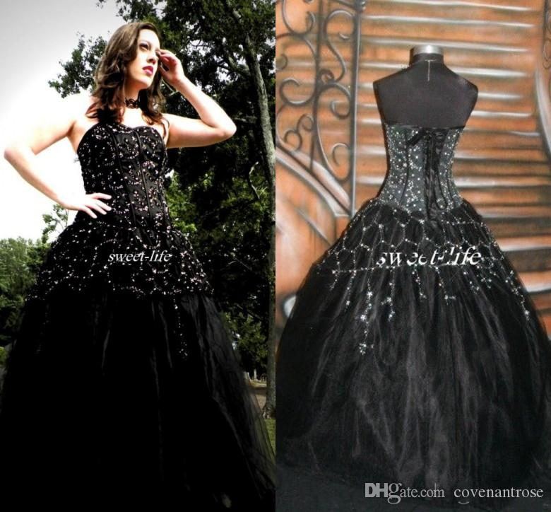 589bd8604c9 Newest Designer Black Gothic Wedding Dresses Sexy Backless Applique Beads  Corset Queen Victorian Halloween Party Bridal Gowns Plus Size Dress Wedding  Formal ...