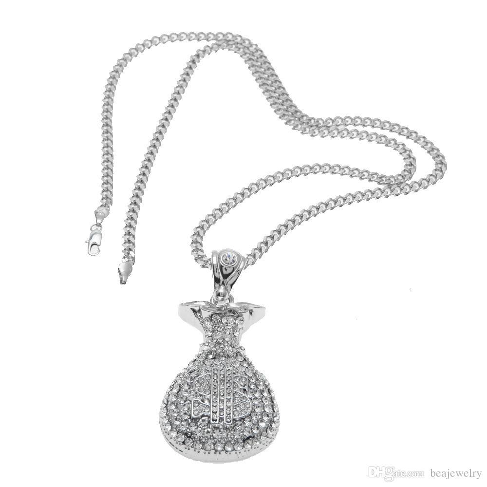 Hip Hop Antik Silber Vergoldet Geld Tasche Anhänger Für Männer Frauen Bling Kristall Dollar Charme Halskette Lange Kubanische Kette Schmuck