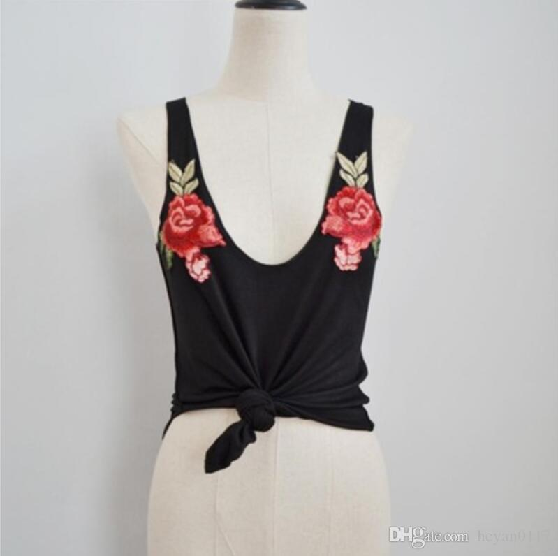 Rose Embroidered Ladies T-shirt Vest Attractive Women Fashion Sexy V-Neck Appliques Rose Sleeveless Tanks & Camis Tops Blouse