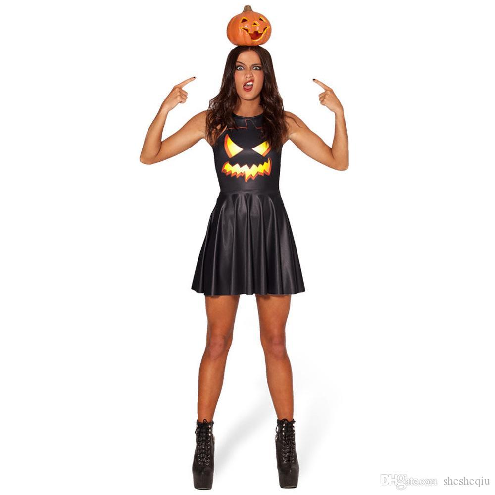 Moda Donna Punk Halloween Abbigliamento Bodycon Skull Print Dress Slim Party Nero A-line Cool wear Novità Abiti spedizione gratuita