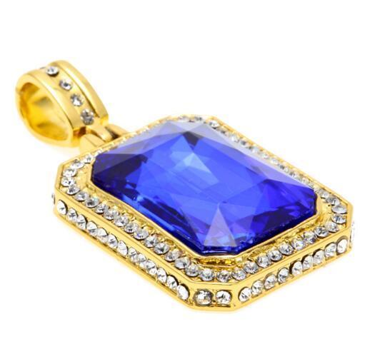 Collar de diamantes de oro para hombre Iced Out Ruby Octagon Hip Hop Colgante con cadena Joyería de moda Regalo de Navidad