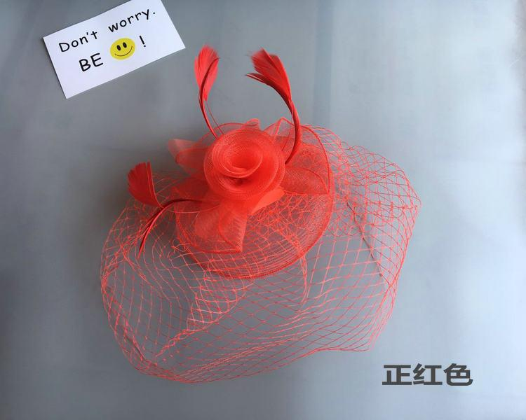Woman headdress hair The bride bag mail headdress retro veil Club small hat hair sexy red black and white gauze covered his face