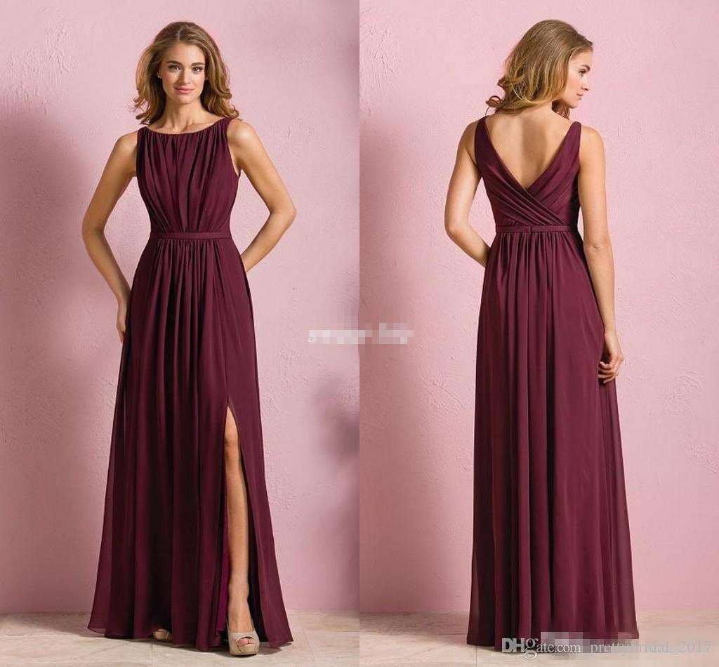 Elegant cheap red chiffon long beach bridesmaid dresses 2017 elegant cheap red chiffon long beach bridesmaid dresses 2017 wedding party dress for women maid of honor dresses with front split jewel neck two piece ombrellifo Gallery