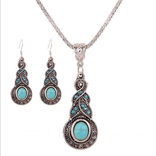 Conjuntos de joyas Collar Pendientes Moda Mujer Vintage Imitación étnica Turquesa Rhinestone Conjunto de 2 piezas Joyería de fiesta al por mayor TJS008