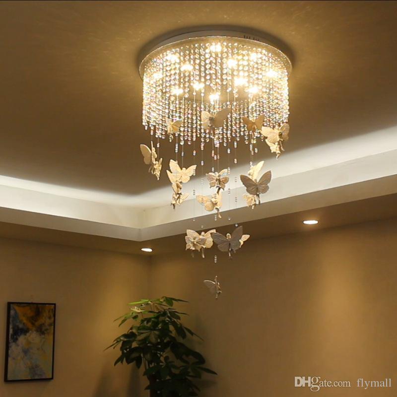 Moderno LED luces de la lámpara de techo de cristal princesa ángel mariposa araña luces colgantes para sala de estar dormitorio sala de niños