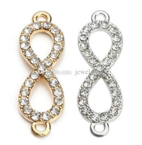 100 sztuk / partia Złoty Kryształ Rhinestone Rysunek 8 Nieskończoność Złącze Charms Wisiorek Dla DIY Bransoletka Biżuteria Wykonanie 10 * 33mm