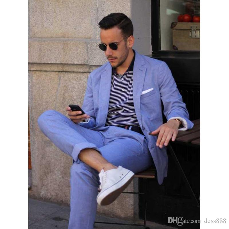 2020 Summer Casual Mens Suits Blue