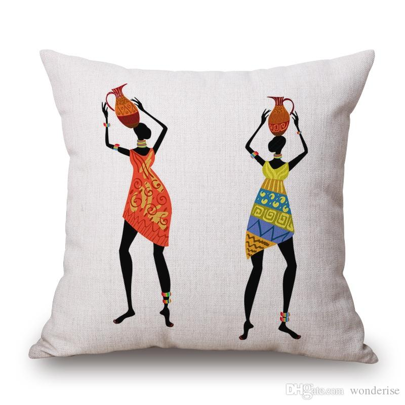 African Woman Dance With Vases on Head Cushion Covers Color Painting Africa Costume Culture Cushion Cover Sofa Top Linen Cotton Pillow Case