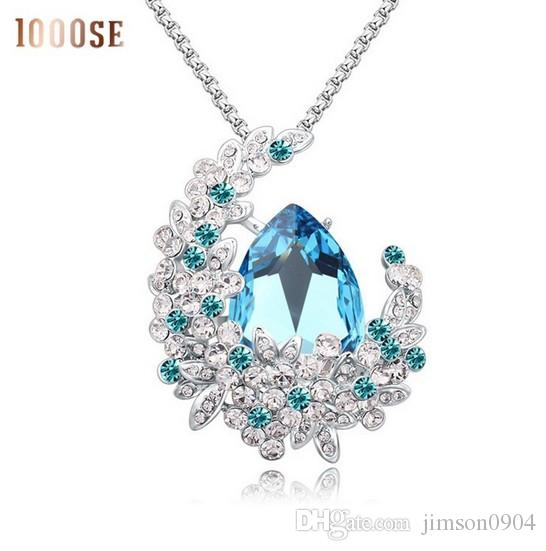 2017 new A genuine SWAROVSKI crystal elements used on thick sweater chain necklace - Retro long female sale