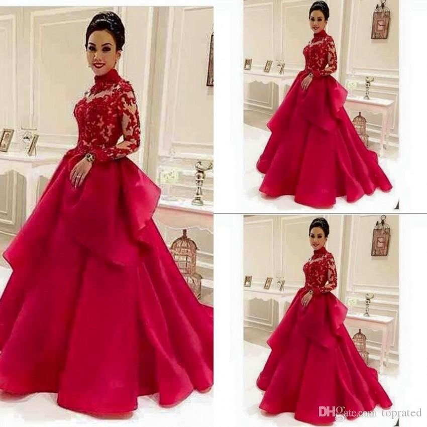 Vintage Red Long Sleeve Evening Dresses Illusion High Neck Appliqued Lace Puffy Peplum 2019 Cheap Prom Gowns Long Formal Pageant Dress