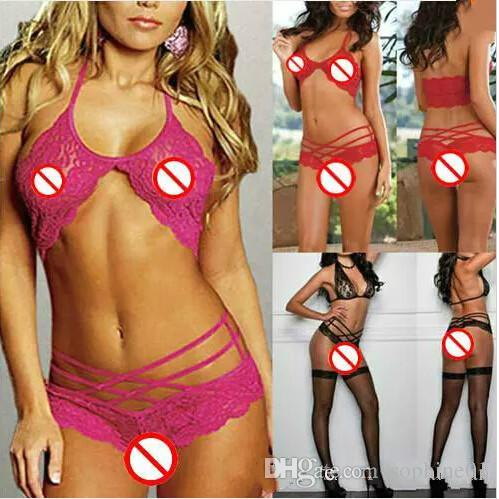 Moda de Nova Sexy atrair mulheres Sexy Lingerie Sleepwear G-string Lace Underwear 3 cores opcionais frete grátis