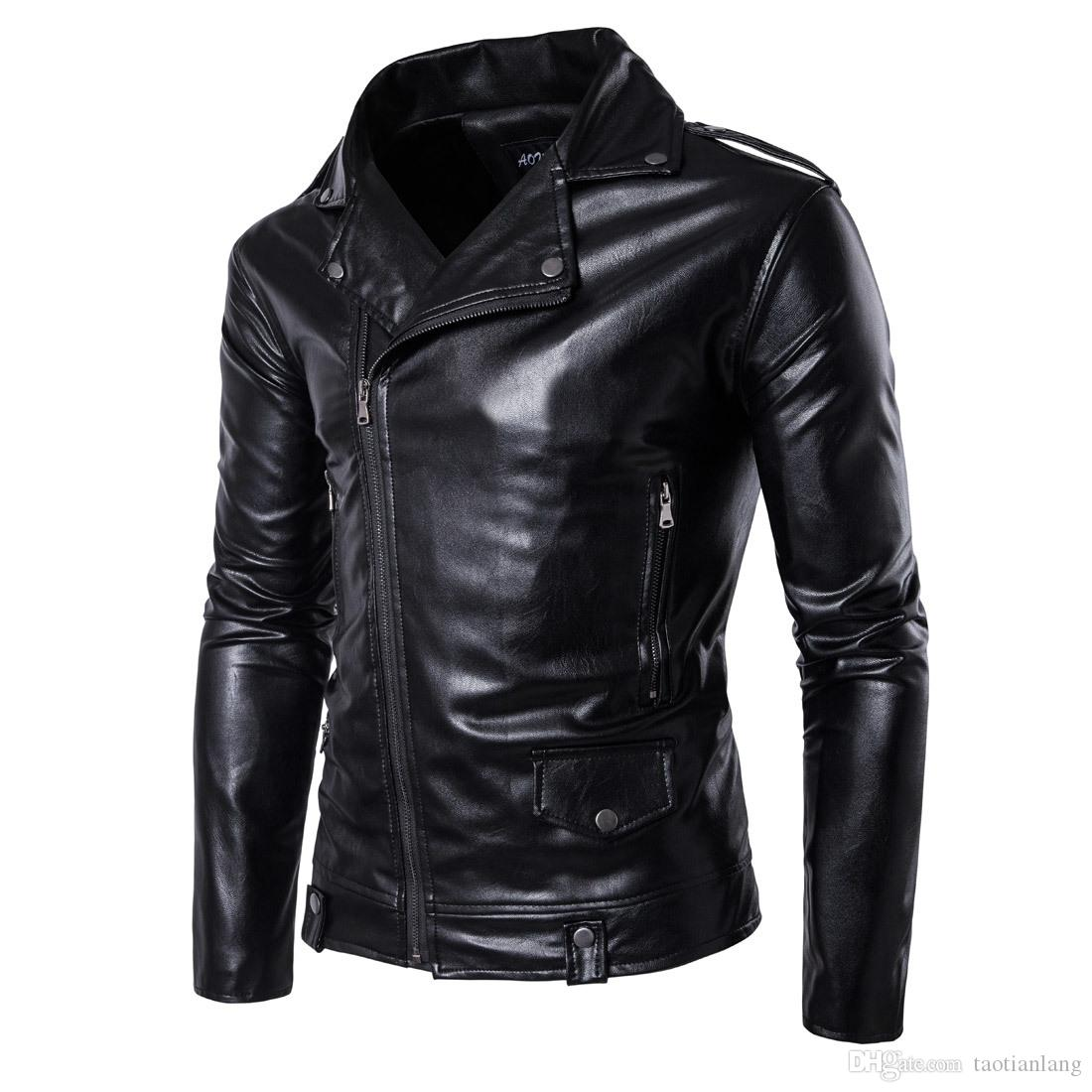 Winter Bomber Jackets For Men Outdoor PU Brown Black Winter Long Motorcycle Shell leather Fold Sleeve Denim Mens Jackets Outerwear T170721