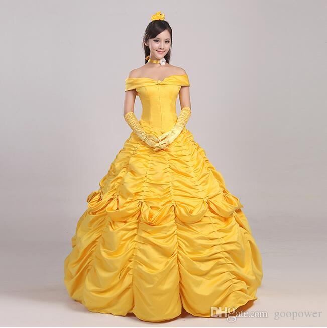 Oisk Custom Beauty And Beast Belle Princess Dress For Christmas Halloween Women Adult Size Costume Party Gown Ball Best Quality Costumes Groups Family