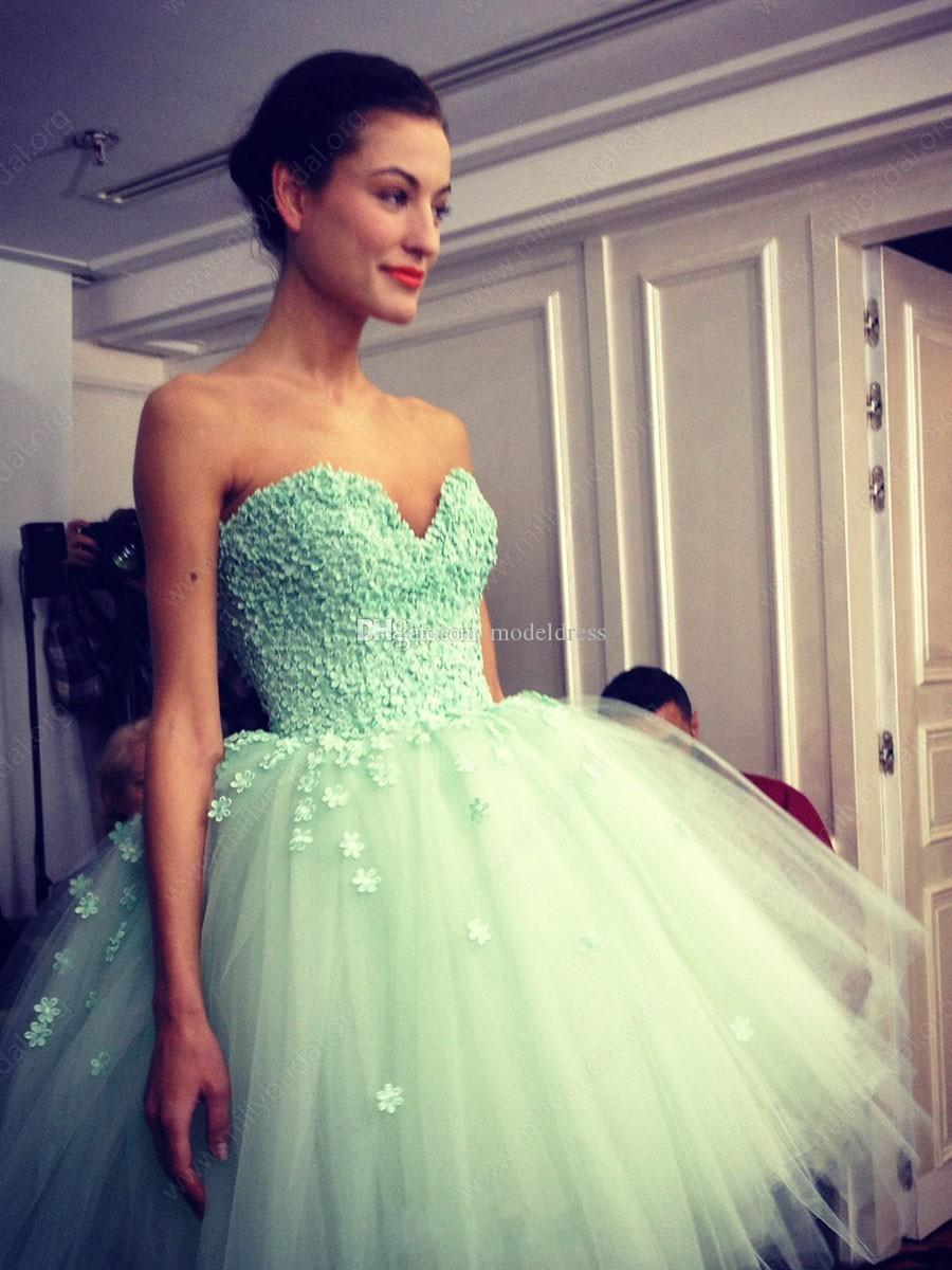 Modest Asymmetrical Mint Prom Dresses 2017 Sweetheart Major Beading Ball Gown Appliques Formal Evening Party Gowns Vestidos Cheap Custom