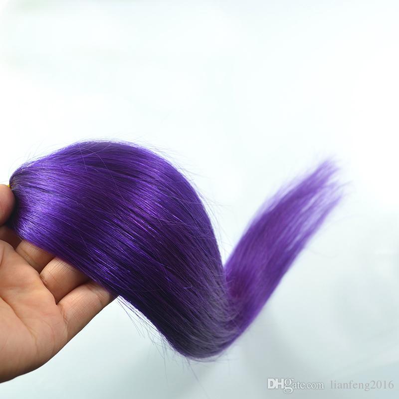 Mikro Döngü İnsan Saç Uzantıları # Renk Renk Brezilyalı Remy Bakire Saç Düz 50 s / 50g Mikro Yüzük Remy Saç Uzatma