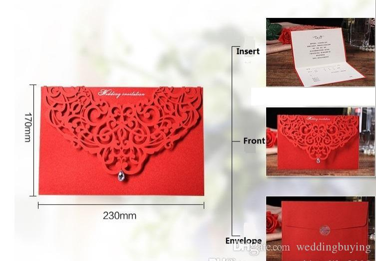 Wedding Invitations Cards Laser Cut Wedding Invitations Ribbon With Envelope And Seal Wedding Supplies Free Customized Hollow Laster Card
