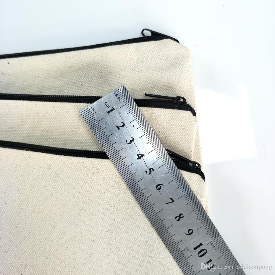 plain natural light ivory color pure cotton canvas coin purse with black zipper matching color lining blank canvas zip pouch