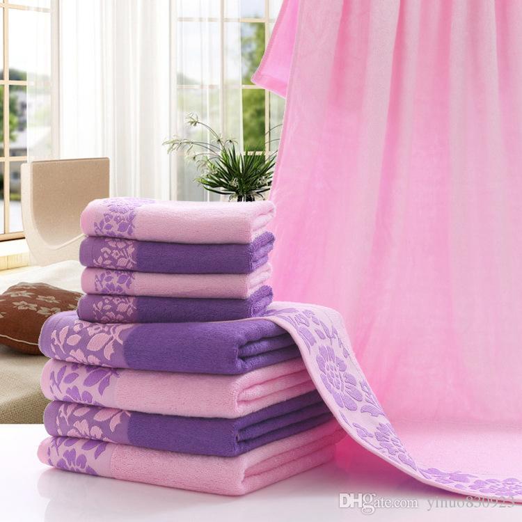 Asciugamani ricamati rosa 3 pezzi 600g Asciugamano in fibra di bambù 100% Set Asciugamani Asciugamano da bagno adulti Salviette alte assorbenti