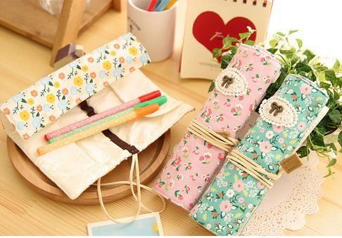 Lápis de zíper duplo Pastoral pequeno floral papelaria saco de material de aprendizagem
