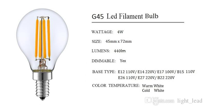 Dimmable E14 E27 G45 Retro LED Filament Light Globe Bulb 2W 4W Edison Vintage Ampoule Led Lamp 220V 110V indoor Lighting