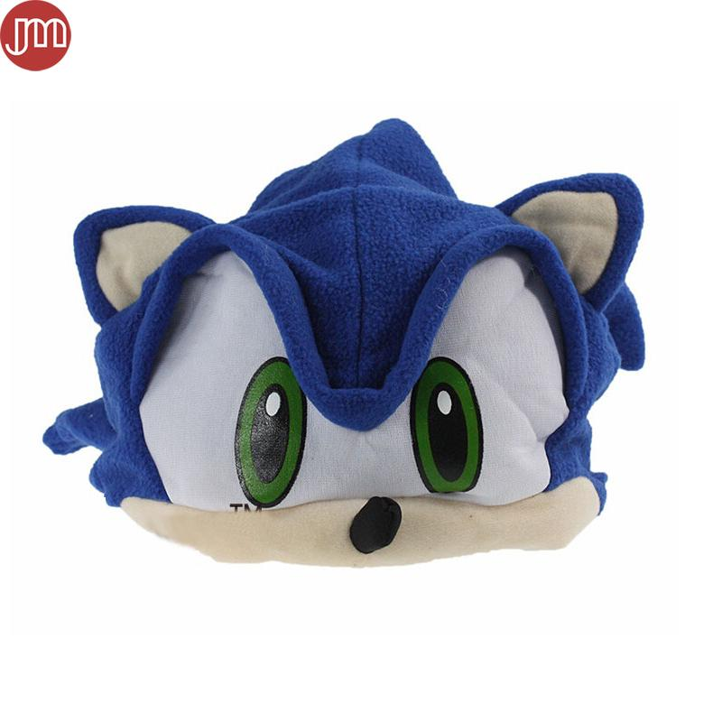 New Sonic The Hedgehog Fleece Plush Hat Cosplay Costumes Blue Cap Brinquedos for Adult Teenager Anime Birthday Gift In Stock