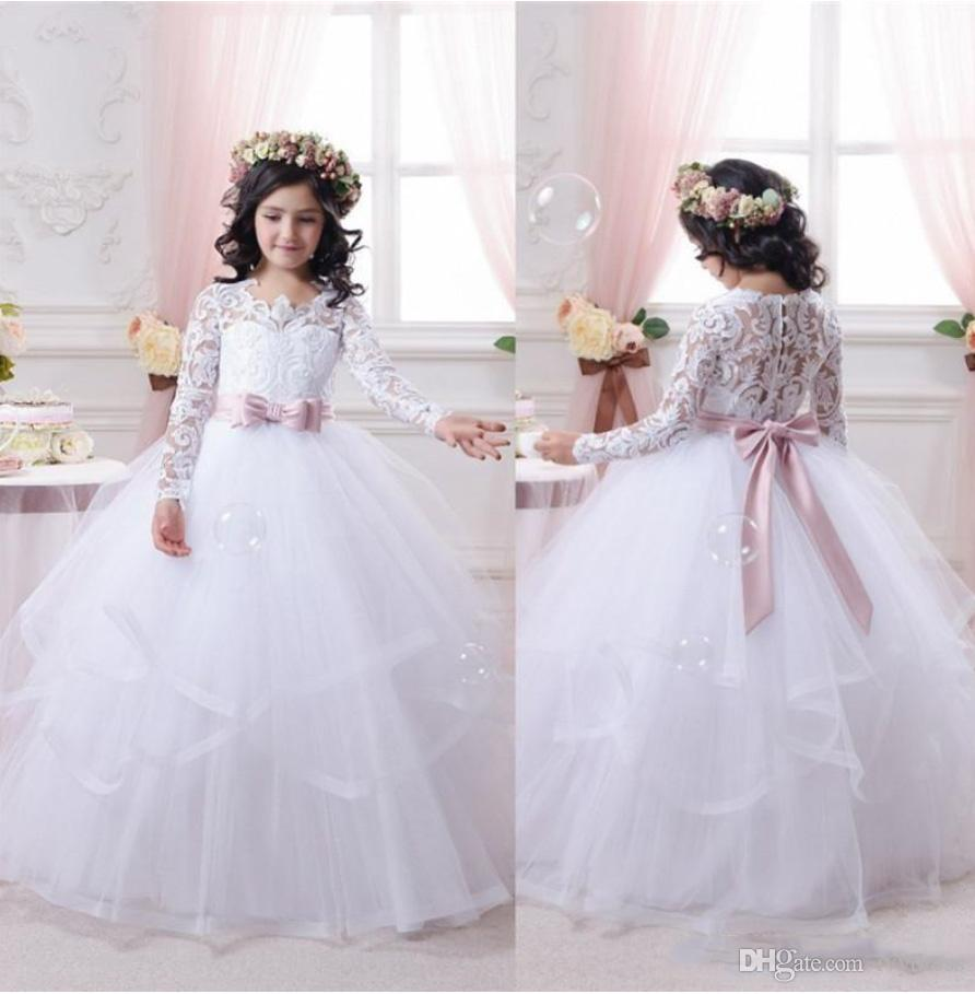 2017 White Flower Girl Dresses For Weddings Long Lace Sleeve Girls ...