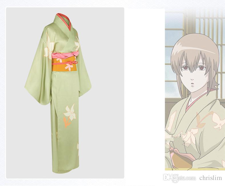 Nouvelle arrivée japonaise anime Gintama Cosplay Okita Mitsuba Costume Kimono Kimono avec des motifs de fleurs + Ceinture pour les adultes