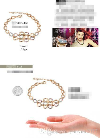 Raffinatezza di fascia alta Romantico OL di cristallo austriaco Bolla ovale Moda Accessori gioielli fini Bracciali a catena le donne