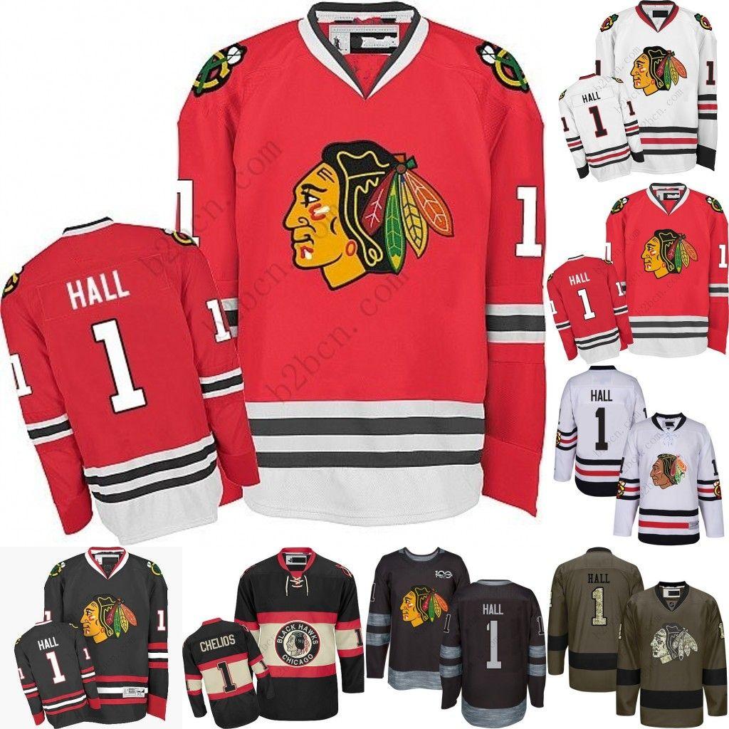 2019 Men S Chicago Blackhawks  1 Glenn Hall 2017 Winter Classic Premier Red  White Away Black 1917 2017 100th Anniversary Jersey From B2bcn 08b262455