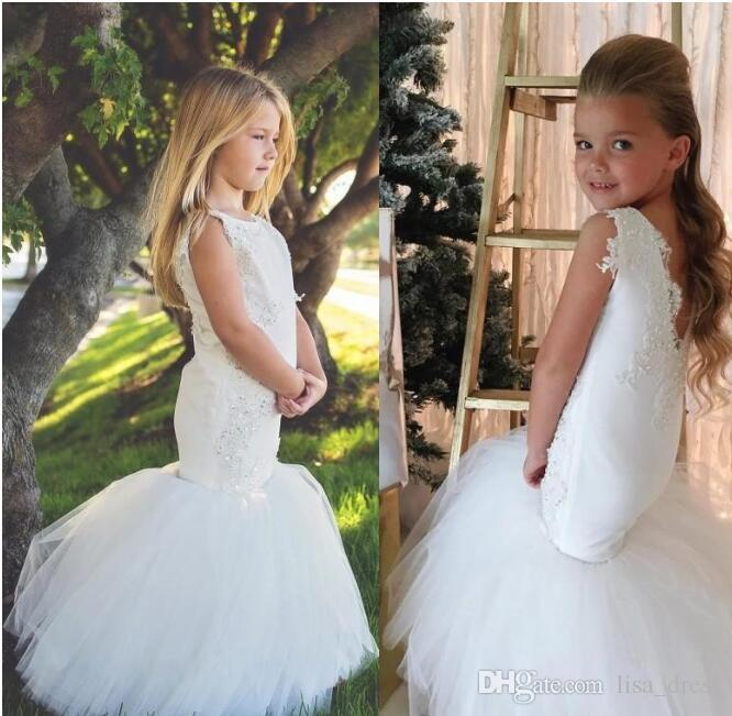 553d2b2225 Country Wedding White Mermaid Flower Girls Dresses Tulle Ball Gown Train  Lace Applique Beads Little Girls Pageant Dress Holy Communion Dress Toddler  Flower ...