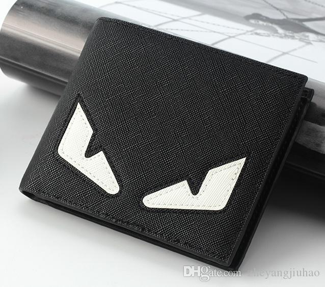 High quality New mens fashion small monster designer wallets male short-style youth personality eyes purses no39