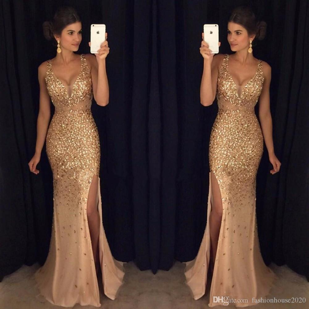 2017 Prom Dresses V Neck Mermaid Gold Crystal Beaded Sequins High ...
