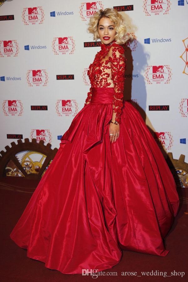 Rita Ora Red Carpet Dresses Illusion High Collar With Appliques And ...