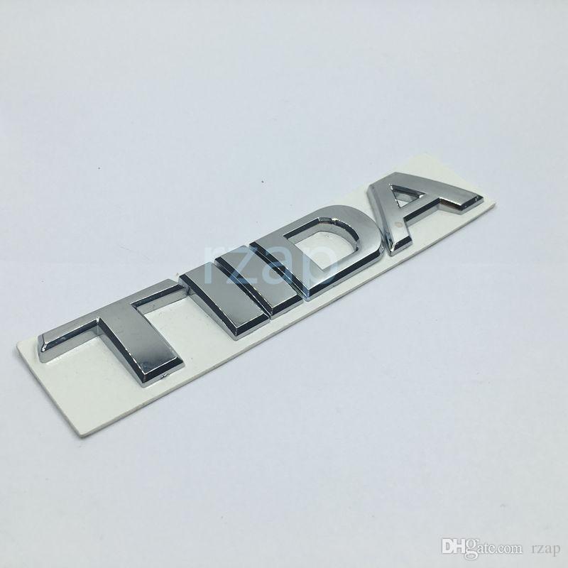 3D سيارة شعار نيسان تيدا رسالة شعار الفضة السيارات الخلفي جذع شارة اسم لوحة لاصقة