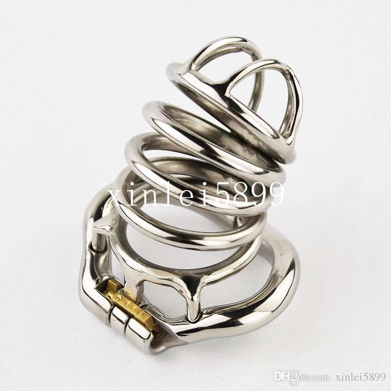 2017 NEW Lock Design Male Chastity Device With Curve Cock Ring BDSM Sex Toys For Men Stainless Steel Chastity Cage