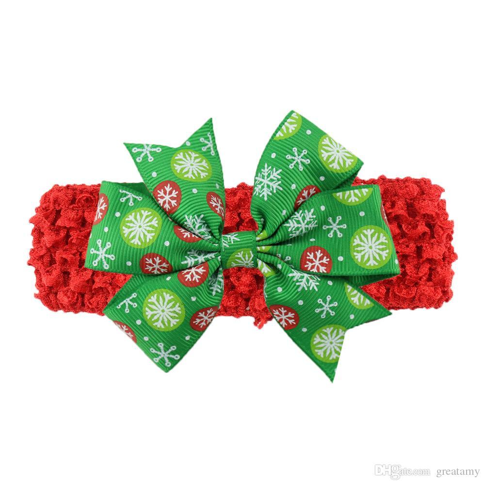 Boże Narodzenie dziecko dla dzieci opaski śliczne xmas wzór Hairbands wiązany łuk głowy moda kolorowy Santa nakrycia głowy sobie zespół do włosów