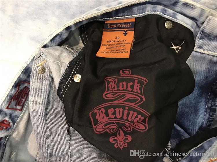 Popular Robin Mens Rock Revival Jeans Verano Pantalones cortos para hombres Hip Hop Hombres Jeans Slim Motocicleta Moto Biker causal Hombres Pantalones de mezclilla