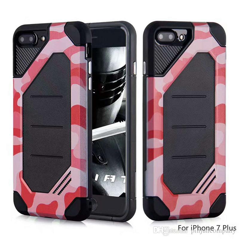 Para samsung galaxy note 8 s8 mais para iphone x 8 huawei y5 2017 y5 iii camuflagem híbrido armadura case capa dual layer