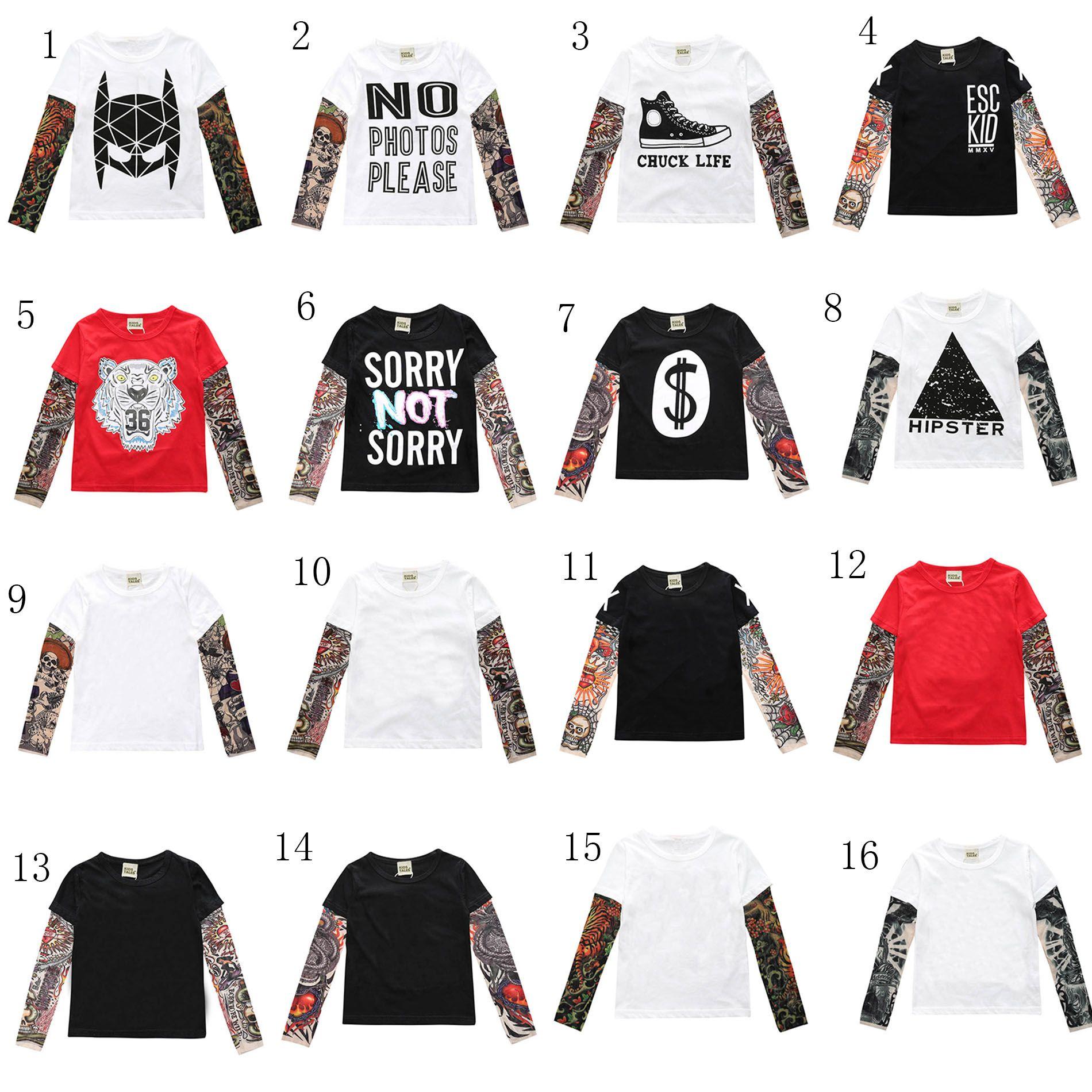 Neue baby INS druck T-shirts baumwolle Kinder Hip hop Tattoo Lange Ärmel Tops Tees Kinder Shirts 16 Farben C2303