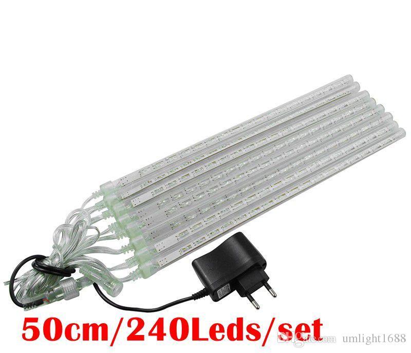 Umlight1688 20cm 30cm 50cm Meteor Shower Rain Tubes LED Light For Christmas Wedding Garden Decor EU US White Blue RGB