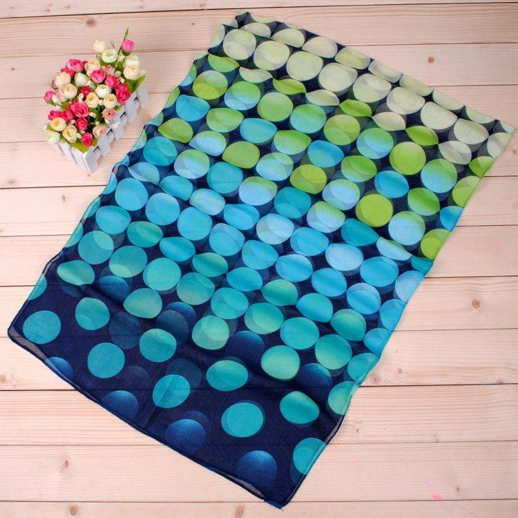 New arrival fashion geometric long girls chiffon gradually changing color scarf wholesale cheap female silk painting factory direct sale