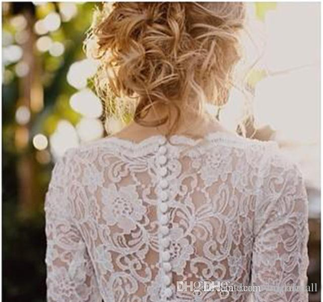 Bohemian 2019 Långärmade bröllopsklänningar med spets avtagbart tågöverkrifter Applique Beach Bridal Gowns Plus Size Vestidos de Novia