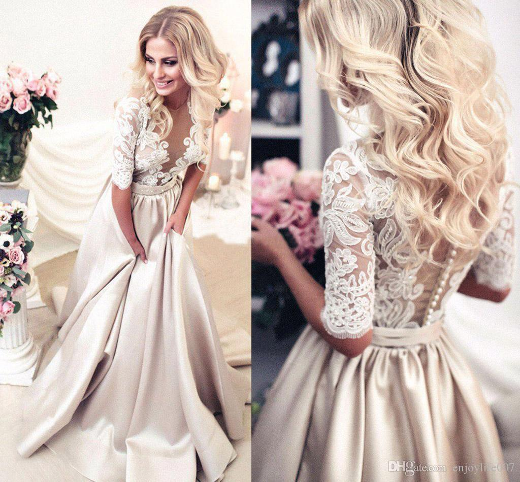 Discount 2017 Newest Champagne Wedding Dresses Sheer Neck Half Sleeves Appliques Lace Satin Long Gowns See Through Back Vintage Bridal Dress
