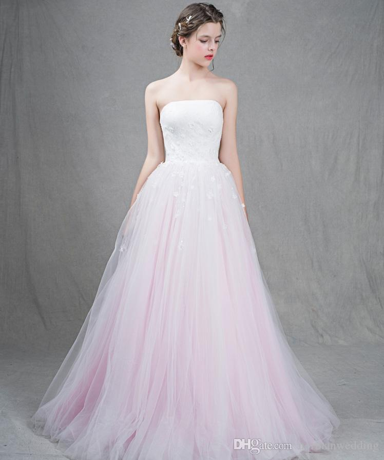 Discount 2017 fashion light pink wedding dresses beaded for Light pink wedding guest dress