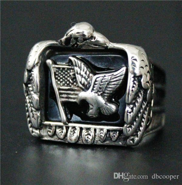 Wholesale Price Newest Biker 316L Stainless Steel Amercia Flag Eagle Ring Band Party Hot Fashion Motorcycle Biker Mens Ring