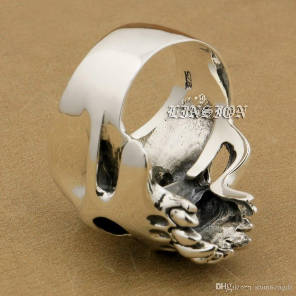 LINSION Huge Heavy 925 Sterling Silver Green CZ Eyes Skull Mens Biker Rocker Punk Ring 9M304 US Size 7~15